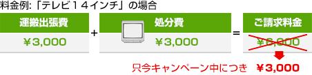 運搬出張費¥3000+テレビ回収処分費¥3000=ご請求料金¥6000、キャンペーン中につき¥3000