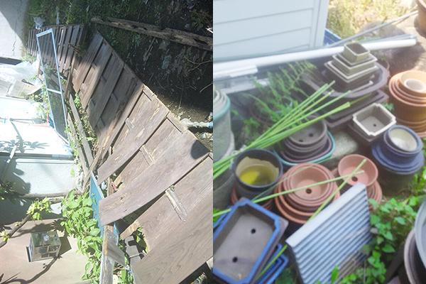 植木鉢、フェンスの除去