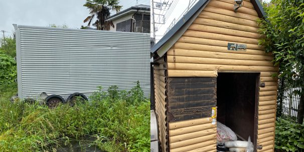 コンテナ、犬小屋の解体